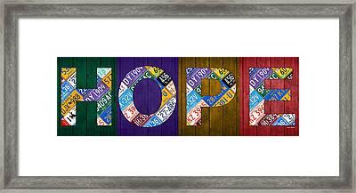 Hope Lettering Sign Kitchen Dining Room Recycled Vintage License Plate Art Framed Print by Design Turnpike