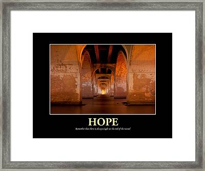 Hope - Light At The End Of The Tunnel Framed Print by Gregory Ballos