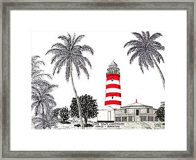 Hope Town Lighthouse Drawing Framed Print