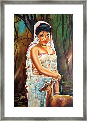 Framed Print featuring the painting Hopeful Heart - Sakunthala Waits For Dushyant by Ragunath Venkatraman
