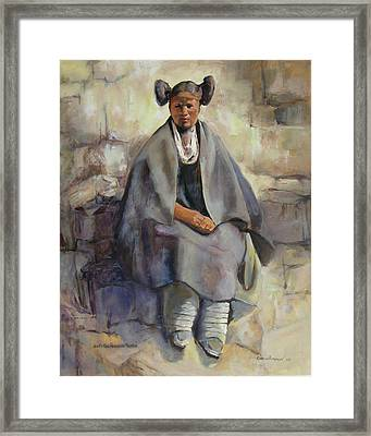 Hopi Girl Seated Framed Print