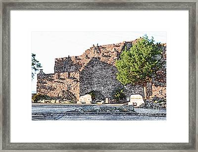 Hopi House In Grand Canyon Village At Sunset Colored Pencil Framed Print by Shawn O'Brien