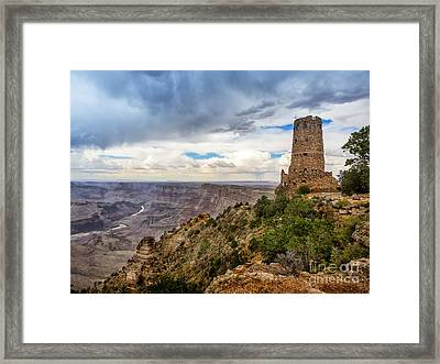 Hopi Watch Tower At Grand Canyon South Rim Arizona Framed Print