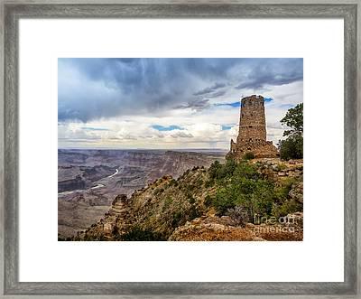 Hopi Watch Tower At Grand Canyon South Rim Arizona Framed Print by Frank Bach