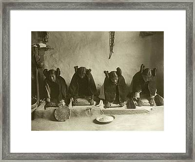 Hopi Women Grinding Grain Framed Print by Library Of Congress