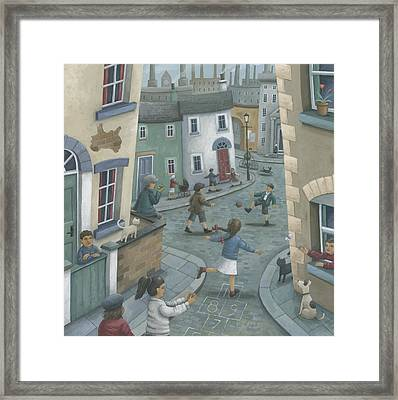 Hopscotch Down The Hill Framed Print by Peter Adderley