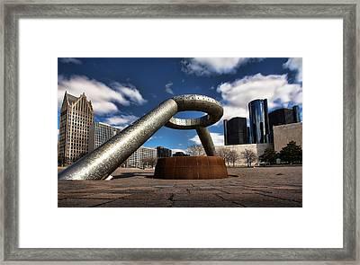 Horace Dodge Fountain Hart Plaza Detroit Michigan  Framed Print by Gordon Dean II