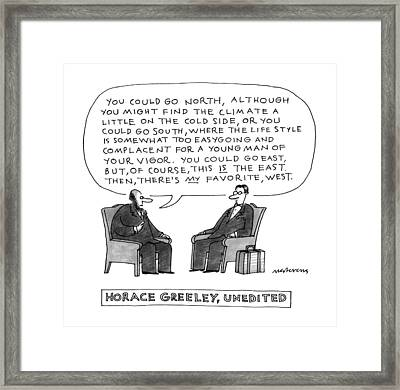Horace Greeley Framed Print by Mick Stevens