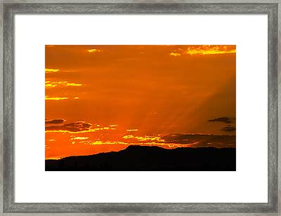 Horetooth Rock At Sunset Framed Print by Rebecca Adams