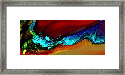 Horizontal Abstract Art Blue Rhapsody By Kredart Framed Print by Serg Wiaderny