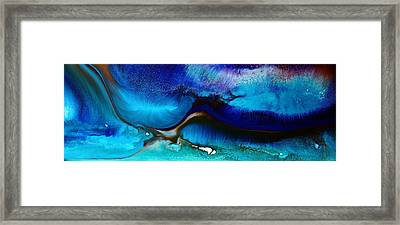 Horizontal Abstract Art Just Blue By Kredart Framed Print