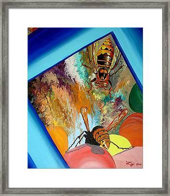 Framed Print featuring the painting Hornets by Daniel Janda