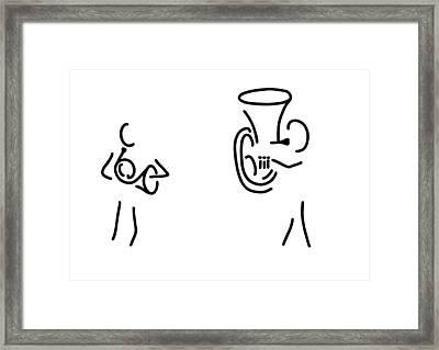 Hornist Tuba Brass Player Framed Print by Lineamentum