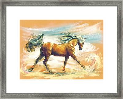 Horse Akalteke Framed Print by Zorina Baldescu