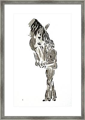 Horse And A Boy Framed Print by Olga Surm