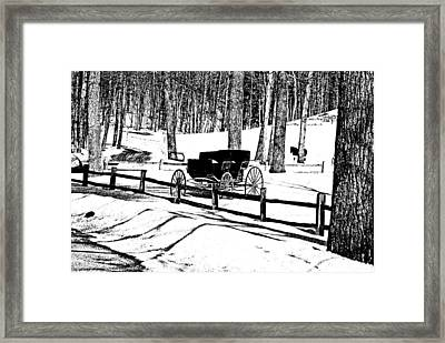 Horse And Buggy - No Work Today A Black And White Abstract Framed Print by Janice Adomeit