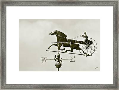 Horse And Buggy Weathervane In Sepia Framed Print by Ben and Raisa Gertsberg