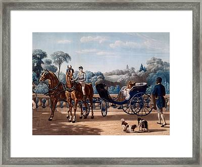 Horse And Carriage, First Half C19th Framed Print by Henri d'Ainecy, Comte de Montpezat