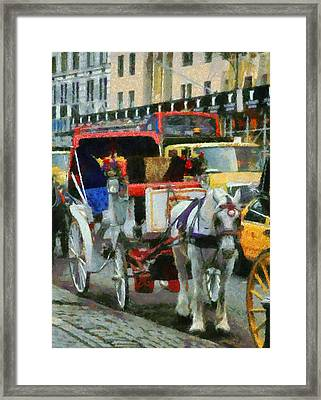 Horse And Carriage In New York City Framed Print by Dan Sproul