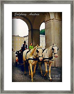Horse And Carriage In Salzburg Austria Framed Print by John Malone