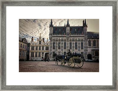 Horse And Carriage Framed Print by Joan Carroll