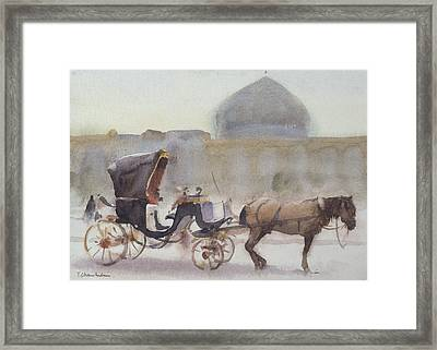 Horse And Carriage, Naghshe Jahan Square, Isfahan Wc On Paper Framed Print