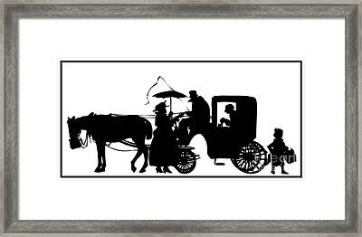 Horse And Carriage Silhouette Framed Print