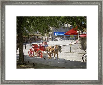 Horse And Carriage Street Scene Montreal Framed Print by Ann Powell