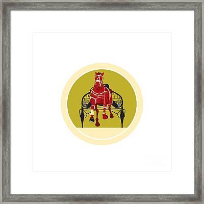 Horse And Jockey Harness Racing Retro Framed Print by Aloysius Patrimonio