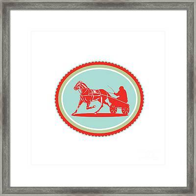 Horse And Jockey Harness Racing Rosette Retro Framed Print by Aloysius Patrimonio