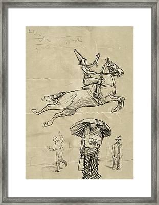 Horse And Rider Framed Print by H James Hoff