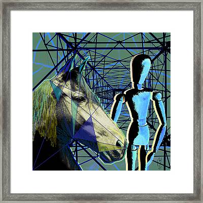 Horse And Rider Framed Print by Maria Jesus Hernandez