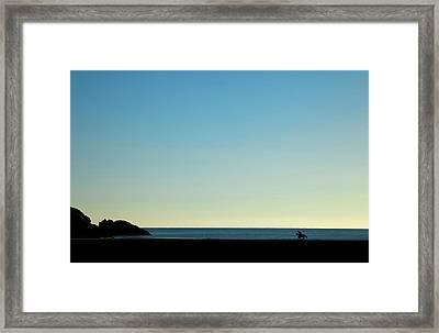 Horse And Rider On Stradbally Beach Framed Print