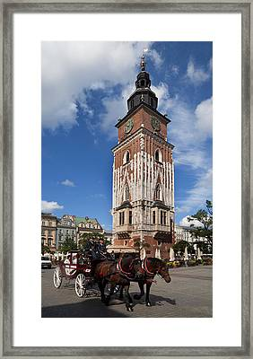 Horse And Trap Passing Wieza Ratuszowa Framed Print by Panoramic Images