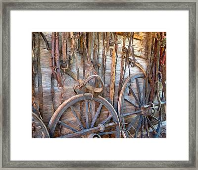 Horse And Wagon Gear Framed Print by Ray Van Gundy