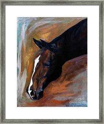 Framed Print featuring the painting horse - Apple copper by Go Van Kampen