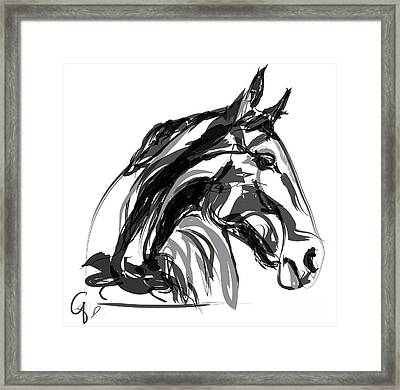Horse- Apple -digi - Black And White Framed Print by Go Van Kampen