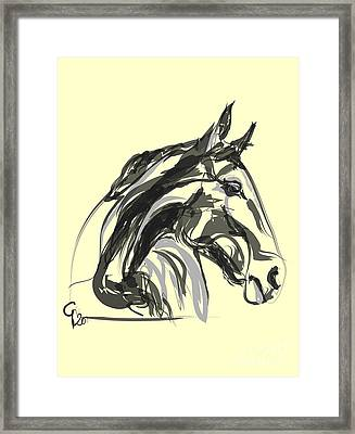 Framed Print featuring the painting horse - Apple digital by Go Van Kampen
