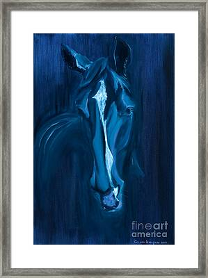 Framed Print featuring the painting horse - Apple indigo by Go Van Kampen