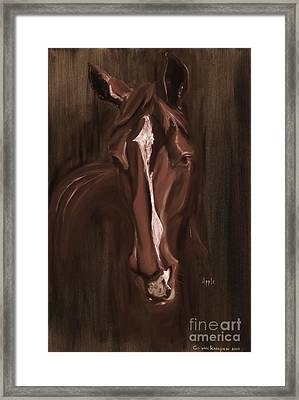 Horse Apple Warm Brown Framed Print by Go Van Kampen