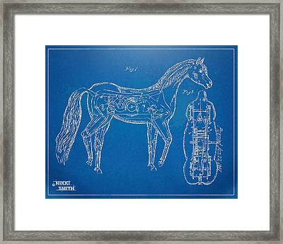 Horse Automatic Toy Patent Artwork 1867 Framed Print by Nikki Marie Smith