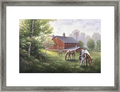 Horse Barn Framed Print by John Zaccheo