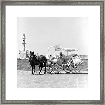 Horse Buggy And Lighthouse Framed Print by Paul Cowan