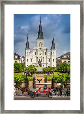 Horse Carriage At Jackson Square Framed Print by Inge Johnsson