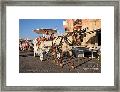 Horse Carriage At The Old Port Of Chania Framed Print by George Atsametakis