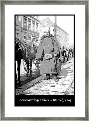 Horse Carriage Driver Munich Germany 1903 Framed Print