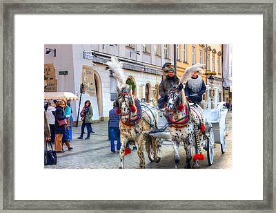 Horse Carriage In Krakow Framed Print by Pati Photography