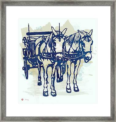 Horse Carriage - Stylised Pop Modern Etching Art Portrait Framed Print by Kim Wang