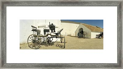 Horse Cart In Front Of A Hotel, Hotel Framed Print by Panoramic Images