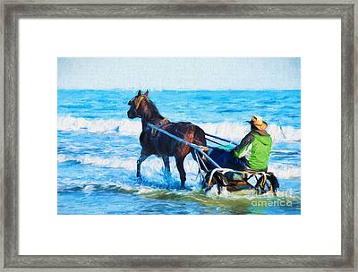 Horse Drawn Carriage In The Ocean Digital Art Framed Print by Vizual Studio